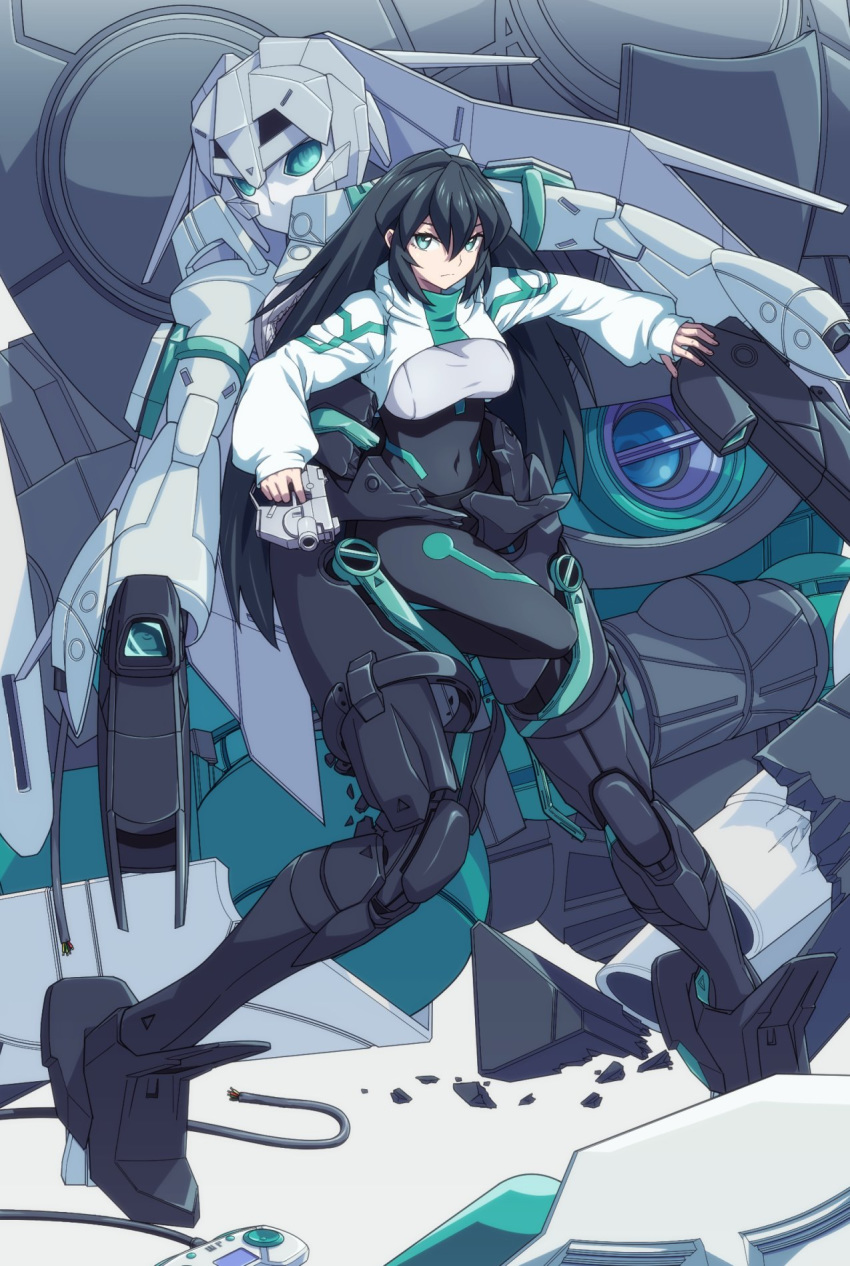 1girl black_hair breasts controller covered_navel cropped_jacket game_controller green_eyes gun gundam gundam_build_divers gundam_build_divers_re:rise gunpla handgun highres long_hair may_(gundam_build_divers_re:rise) mecha mecha_musume medium_breasts multiple_persona skinsuit solo uganda weapon wodom_pod
