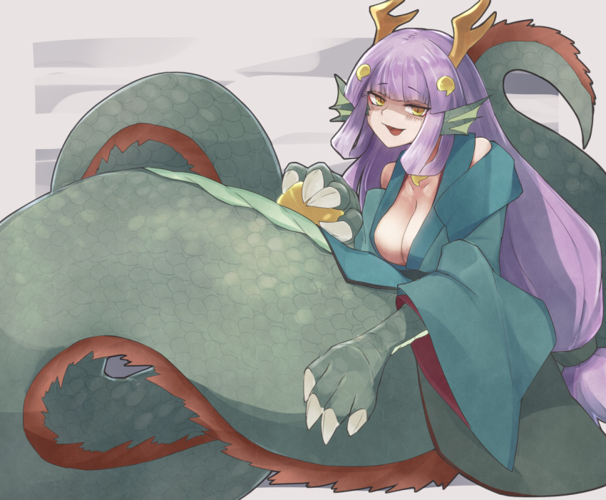 1girl alder animal_ears ball bare_shoulders blush breasts claws commentary_request dragon_ears dragon_girl dragon_horns dragon_wings from_behind fur head_fins holding holding_ball horns japanese_clothes lamia long_hair medium_breasts monster_girl monster_girl_encyclopedia purple_hair ryuu_(monster_girl_encyclopedia) scales solo tail wings yellow_eyes