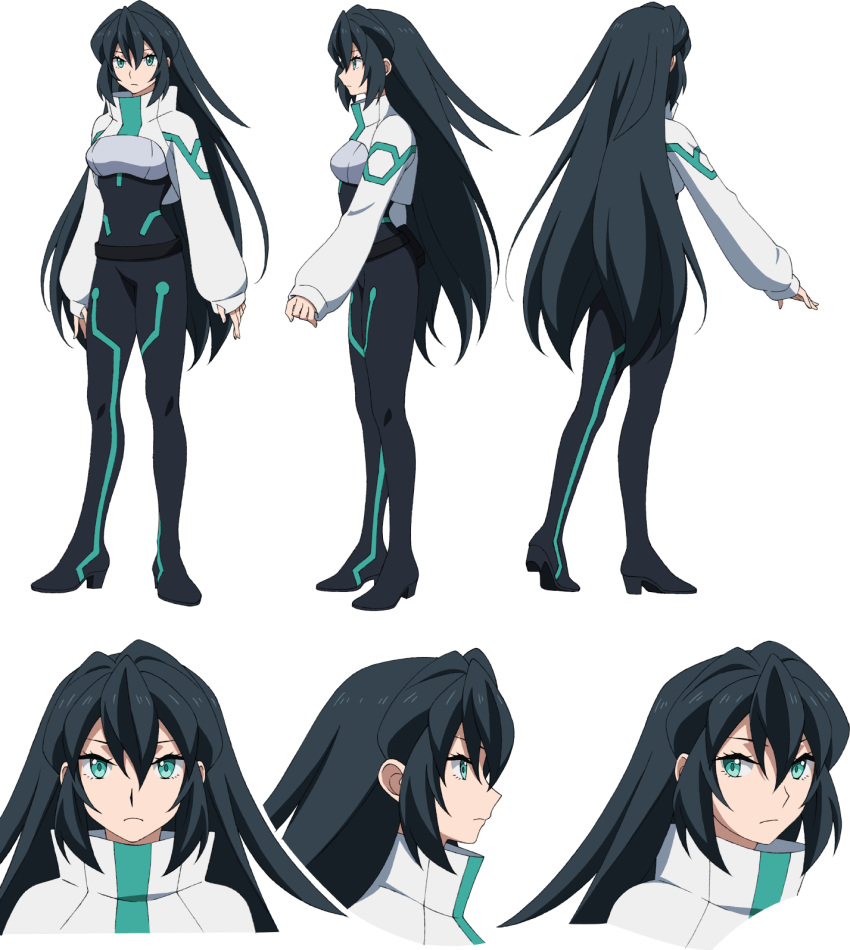 1girl aqua_eyes black_hair character_sheet gundam gundam_build_divers gundam_build_divers_re:rise highres long_hair looking_to_the_side may_(gundam_build_divers_re:rise) multiple_views official_art shrug_(clothing) solo transparent_background