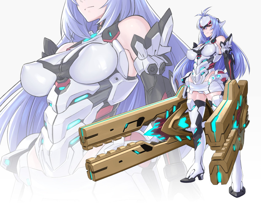 1girl android armor bare_shoulders blue_hair breasts commentary_request covered_nipples elbow_gloves forehead_protector full_body gloves highres kos-mos kos-mos_re: large_breasts leotard long_hair looking_at_viewer mikoyan multiple_views red_eyes simple_background standing thigh-highs weapon white_background white_leotard xenoblade_(series) xenoblade_2 xenosaga