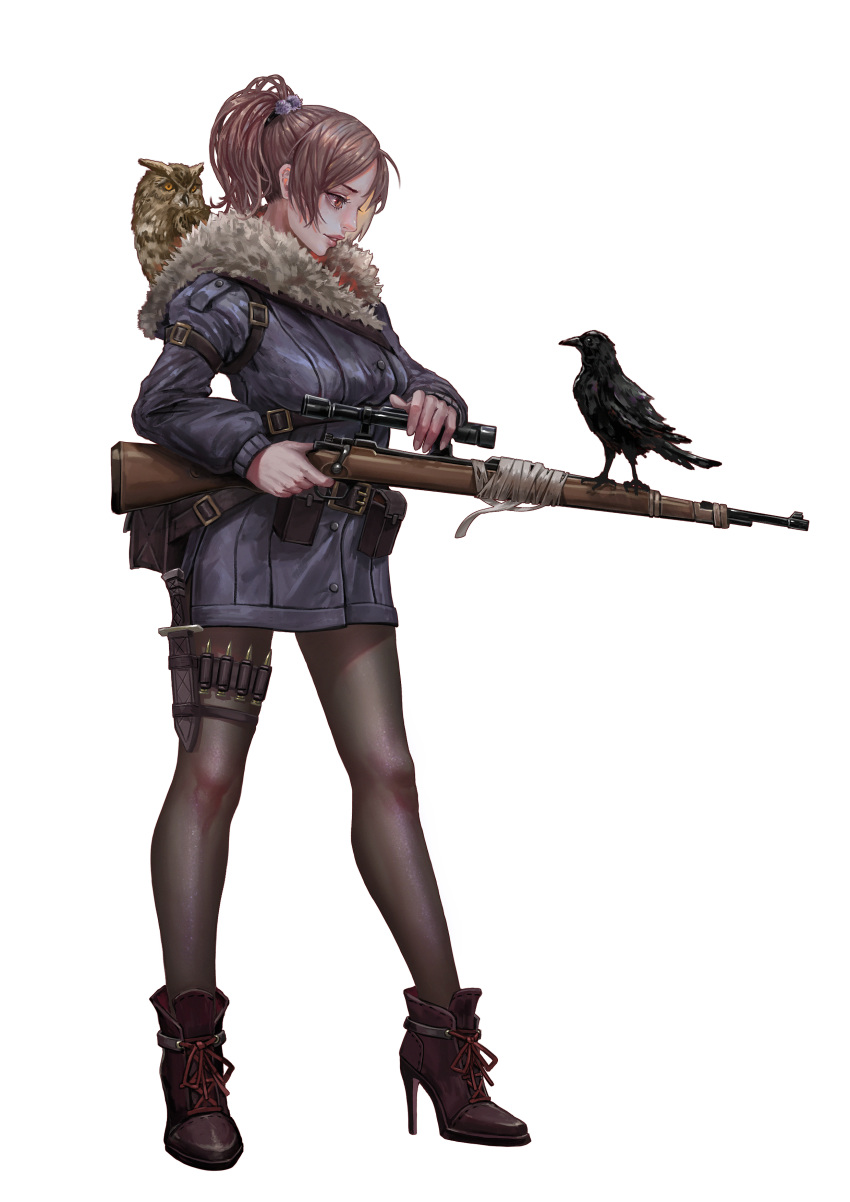 1girl absurdres animal animal_on_shoulder belt_pouch bird bird_on_shoulder blue_coat bolt_action boots brown_eyes brown_footwear brown_hair brown_legwear bullet check_weapon coat crow eye_contact full_body fur_trim gun hair_bobbles hair_ornament high_heel_boots high_heels highres holding holding_gun holding_weapon holster knife long_sleeves looking_at_another mauser_98 medium_hair original owl pantyhose parted_lips ponytail pouch profile rifle scope sheath sheathed short_hair simple_background sniper_rifle solo standing thigh_strap weapon weapon_request white_background xue_qi_ye_(dndtmbdue)