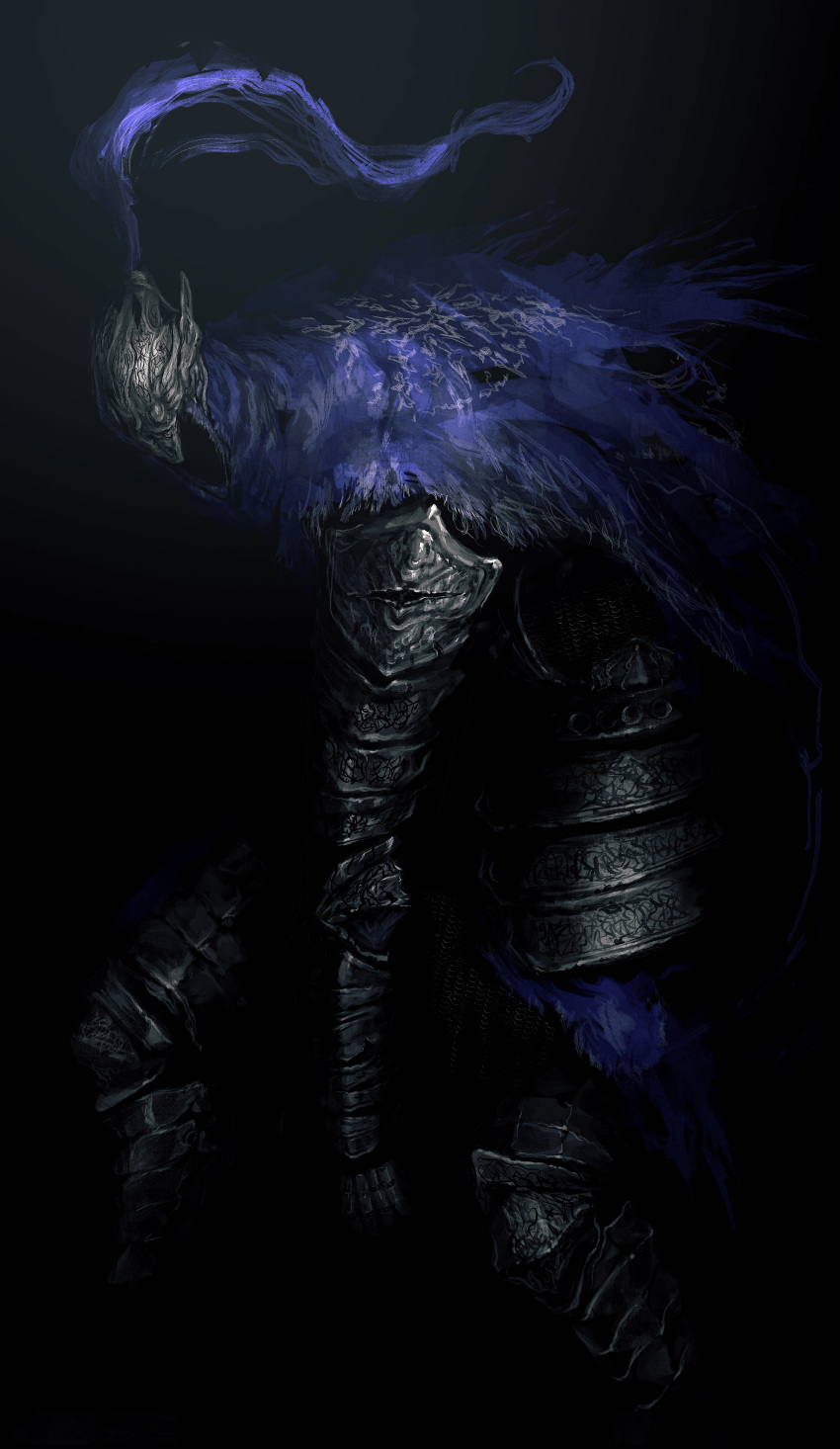 1boy absurdres armor artorias_the_abysswalker black_background cape commentary_request dark dark_souls facing_viewer full_armor gauntlets helmet highres ibuo_(ibukht1015) knight shoulder_armor solo souls_(from_software) sword torn_cape torn_clothes weapon