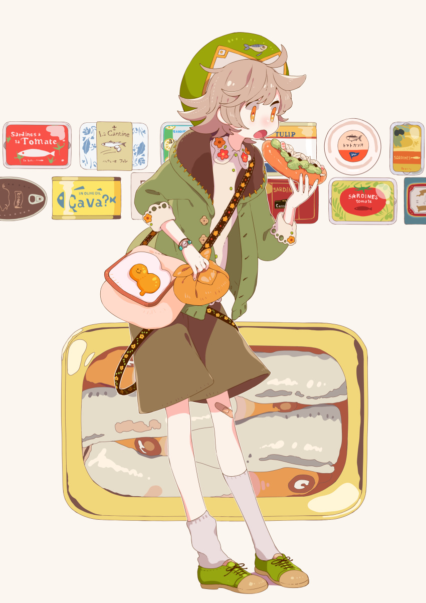1girl absurdres bag bandaid bandaid_on_knee brown_shorts buttons can canned_food collared_shirt commentary_request eating floral_print food food_background full_body green_footwear green_headwear green_jacket hat highres holding holding_bag holding_food hood hooded_jacket jacket light_brown_hair open_mouth orange_eyes original sandwich shirt shoes short_hair shorts shoulder_bag socks solo sorata123 standing watch watch white_shirt