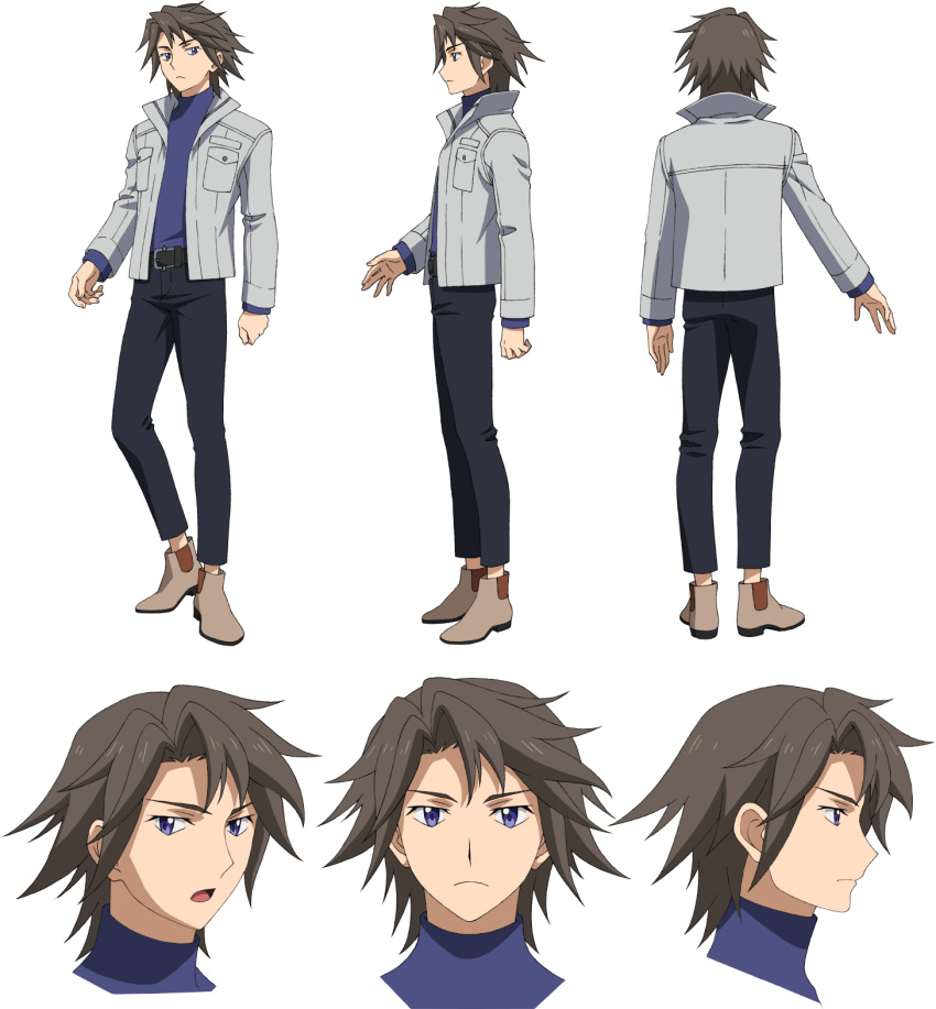 1boy brown_hair character_sheet gundam gundam_build_divers gundam_build_divers_re:rise highres looking_at_viewer looking_down looking_to_the_side multiple_views official_art open_mouth shidou_masaki transparent_background violet_eyes