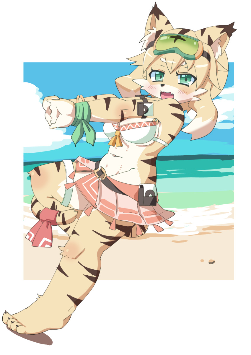 1girl :3 :d animal_ears animal_nose beach beige_fur belt bikini bikini_skirt blush breasts cat cat_ears cat_girl cat_tail claws clouds commentary_request eyewear_on_head fang full_body furry goggles green-tinted_eyewear green_eyes highres long_hair looking_at_viewer medium_breasts mia_(world_flipper) navel ocean open_mouth osa0801 sand smile snout solo standing standing_on_one_leg striped_fur swimsuit tail two-tone_fur world_flipper yellow_fur