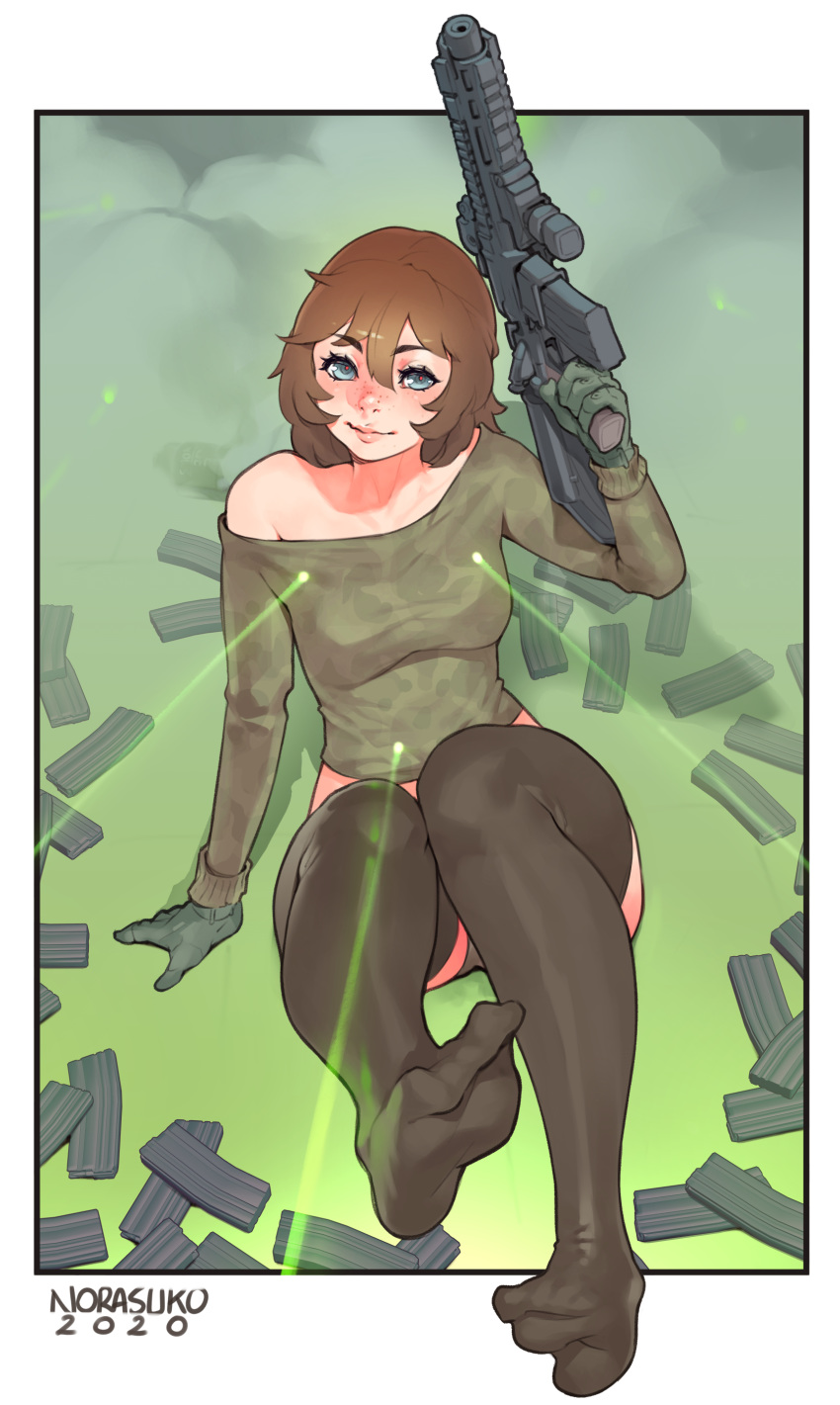 1girl 2020 absurdres artist_name assault_rifle black_legwear black_shorts blue_eyes border borrowed_character breasts brooke_(mathias_leth) brown_hair commentary english_commentary eyebrows_visible_through_hair freckles full_body gloves green_gloves gun hair_between_eyes highres holding holding_gun holding_weapon laser_sight lips magazine_(weapon) medium_hair midriff no_shoes norasuko nose off-shoulder_sweater off_shoulder original outside_border rifle short_shorts shorts small_breasts solo sweater thigh-highs toe_scrunch trigger_discipline weapon white_border
