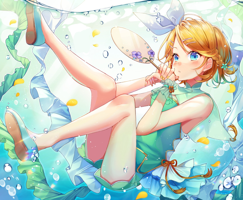 1girl air_bubble alternate_costume alternate_hairstyle bangs bare_shoulders blonde_hair blue_eyes blurry braid bubble china_dress chinese_clothes dress fan flats flower frills full_body green_dress green_flower hair_flower hair_ornament hair_ribbon half_updo highres holding holding_fan ion_(on01e) kagamine_rin looking_at_viewer nail_polish own_hands_together paper_fan parted_lips petals purple_flower ribbon short_dress short_hair side_braid single_braid sleeveless sleeveless_dress solo submerged swept_bangs tail uchiwa underwater vocaloid water wrist_cuffs yellow_nails
