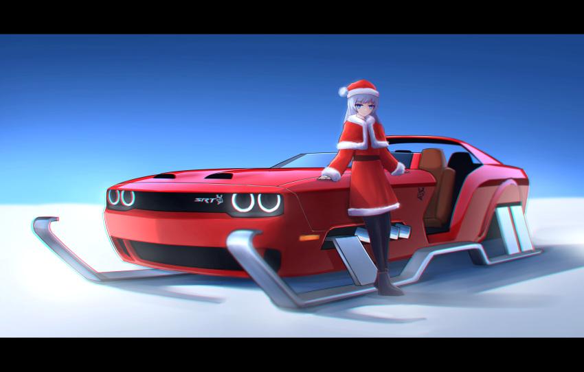 1girl bangs blue_eyes car christmas dodge dodge_challenger ground_vehicle hat highres kai55 looking_back motor_vehicle original santa_costume santa_hat sled vehicle_focus white_hair