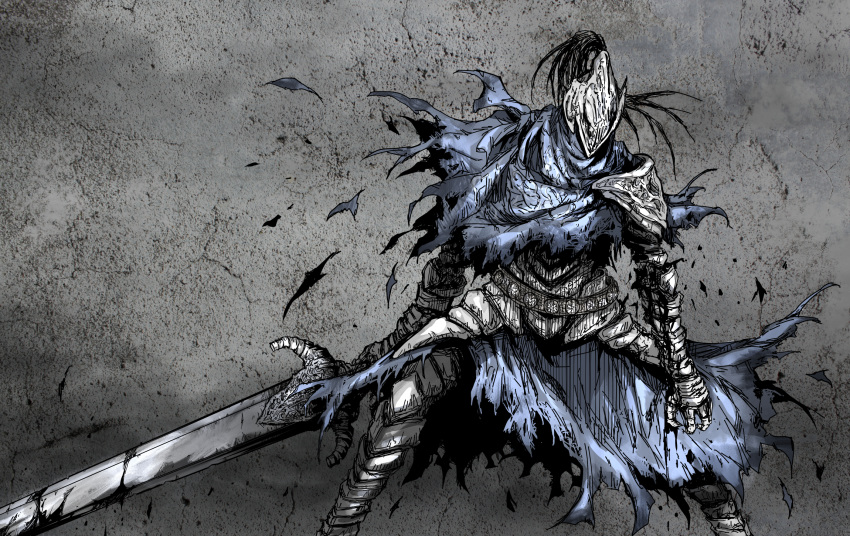 1boy armor artorias_the_abysswalker breastplate cape commentary_request dark_souls facing_viewer feet_out_of_frame full_armor gauntlets grey_background helmet highres holding holding_sword holding_weapon knight legs_apart male_focus pauldrons plume shimoda_masaya shoulder_armor solo souls_(from_software) standing sword torn_cape torn_clothes weapon