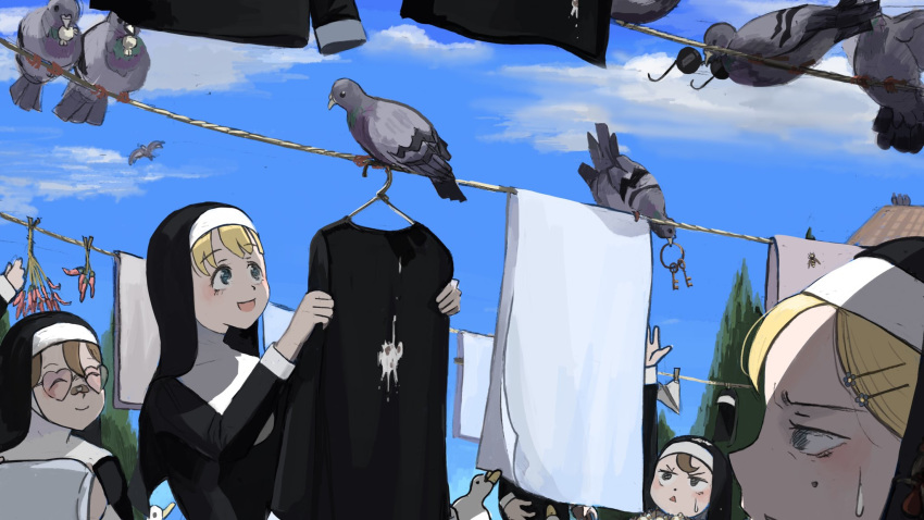 1other 5girls :d ^_^ bandaid bandaid_on_nose bird blanket blonde_hair blue_eyes blue_sky brown_eyes brown_hair catholic chicken chili_pepper closed_eyes clothes clothes_hanger clothes_pin clothesline clouds commentary dirty dirty_clothes diva_(hyxpk) duck english_commentary flower flying food food_in_mouth habit hair_flower hair_ornament hairclip hand_up heart heart-shaped_eyewear highres hornet key looking_up mole mole_under_eye mouth_hold multiple_girls nun on_roof open_mouth original out_of_frame paper_airplane pigeon poop popcorn rooftop sky smile sunglasses sweatdrop tinted_eyewear tree triangle_mouth