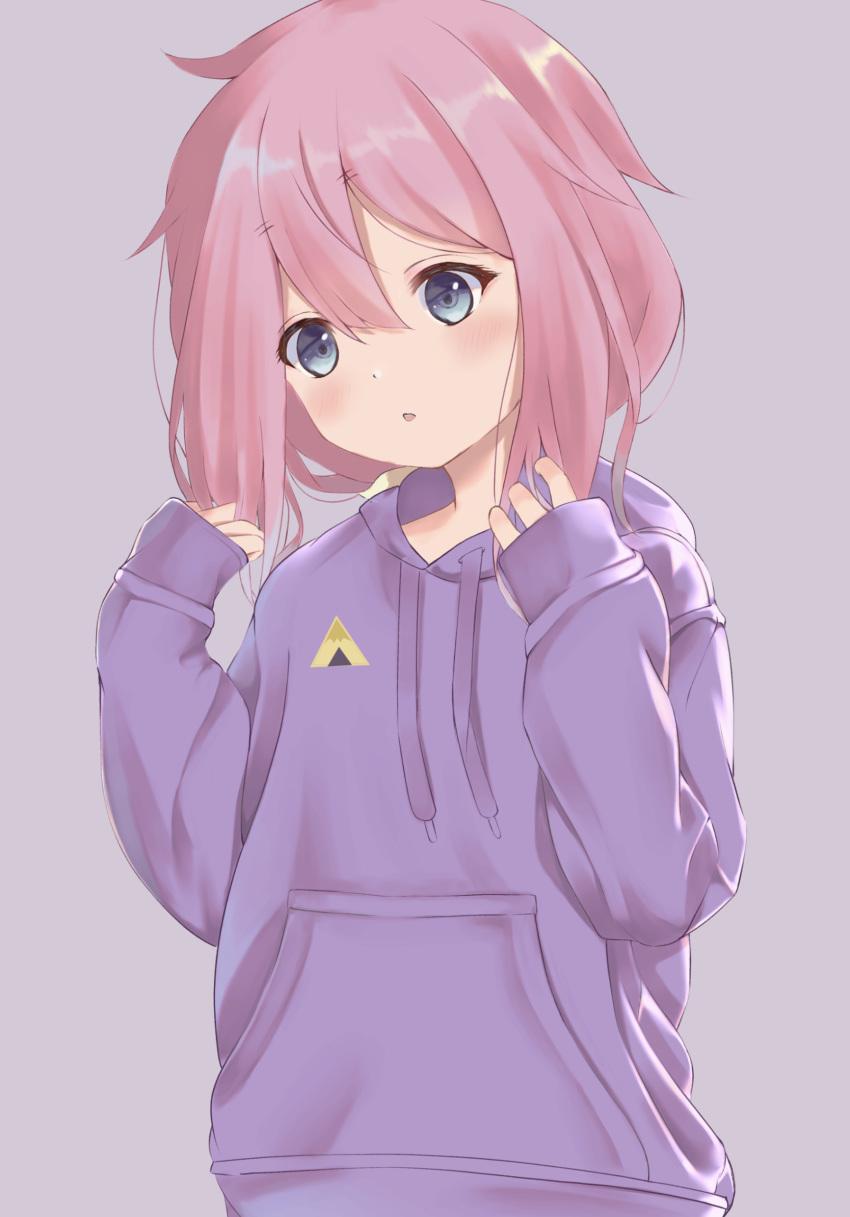 1girl blue_eyes file112056 highres hood hoodie kagamihara_nadeshiko long_hair pink_hair simple_background sleeves_past_wrists solo upper_body yurucamp