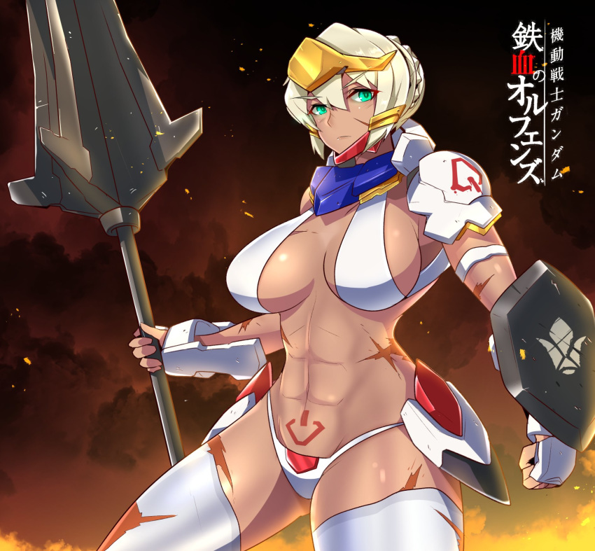 1girl altronage bandai blonde_hair dark_skin fire green_eyes gundam gundam_barbatos gundam_tekketsu_no_orphans highres holding holding_weapon mace mecha mecha_musume navel personification shield short_hair smoke weapon