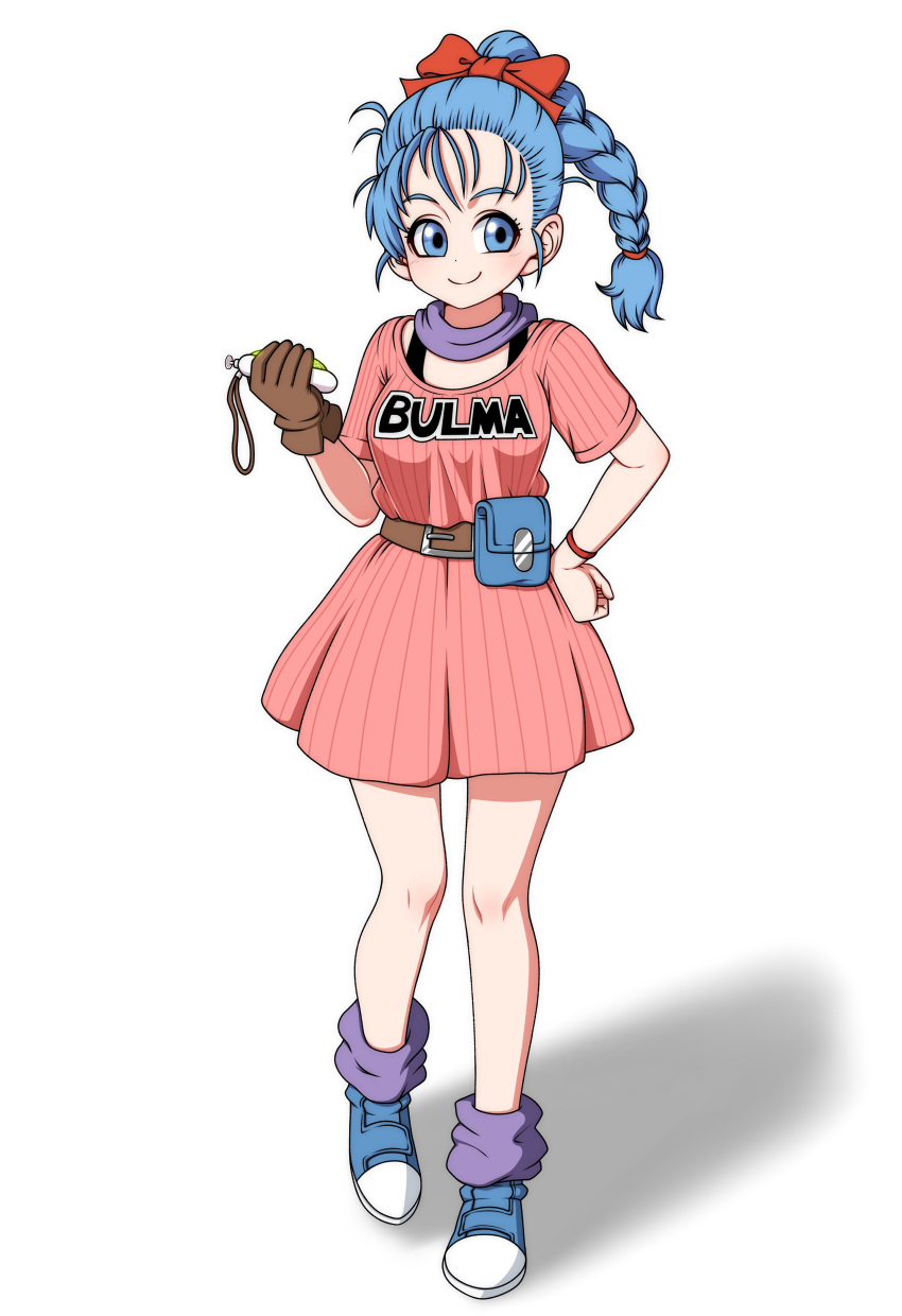 1girl absurdres belt blue_eyes blue_hair boots braid breasts bulma closed_mouth dragon_ball dragon_ball_(classic) dragon_radar eron full_body gloves highres holding long_hair simple_background smile solo white_background