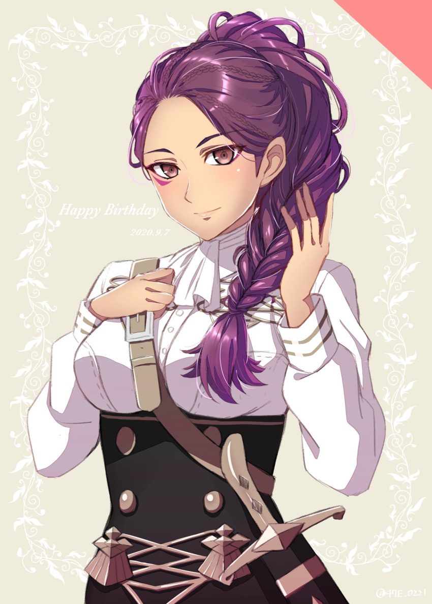1girl brown_eyes closed_mouth dated facial_mark fire_emblem fire_emblem:_three_houses garreg_mach_monastery_uniform happy_birthday highres long_hair long_sleeves petra_macneary ponytail purple_hair scabbard sheath sheathed shinae solo uniform upper_body