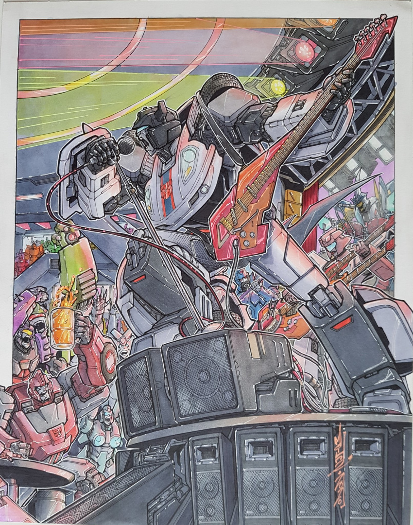 alex_milne autobot concert crowd guitar highres holding holding_instrument instrument ironhide jazz_(transformers) marker_(medium) mecha music no_humans open_mouth singing sky-byte the_transformers_(idw) traditional_media transformers visor