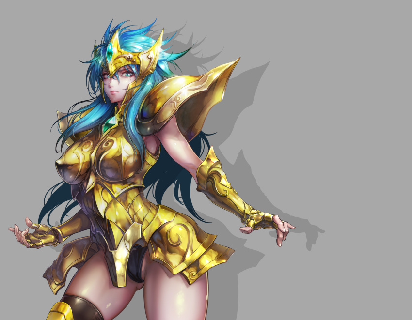 1girl absurdres aqua_hair aquarius_camus armor ass_visible_through_thighs bangs black_legwear black_panties blue_hair breastplate breasts commentary contrapposto forehead_protector gauntlets gem gold_armor gold_saint grey_background highres jay_b_lee large_breasts long_hair looking_at_viewer mole mole_under_eye panties saint_seiya shoulder_armor single_thighhigh skindentation solo thigh-highs underwear