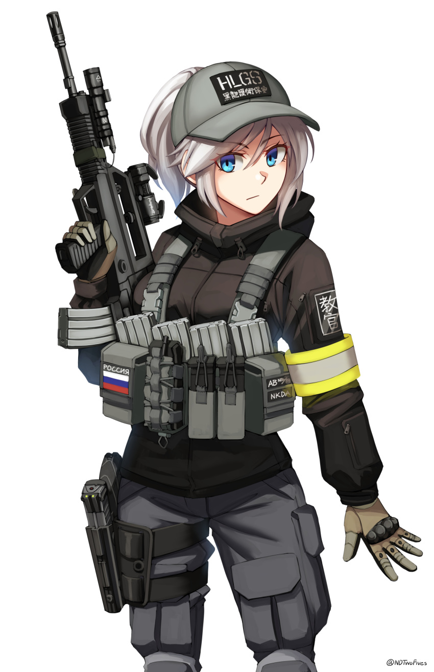 1girl absurdres bangs baseball_cap black_jacket brown_gloves closed_mouth clothes_writing commentary_request eyebrows_visible_through_hair gloves grey_hair grey_headwear grey_pants gun hair_between_eyes hand_up handgun hat highres holding holding_gun holding_weapon holster holstered_weapon jacket knee_pads long_sleeves looking_at_viewer ndtwofives original pants pistol ponytail qbz-97 russian_flag russian_text solo standing sunlight thigh_holster translation_request twitter_username v-shaped_eyebrows weapon weapon_request white_background