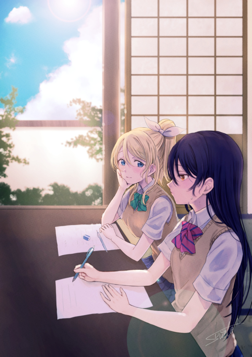 2girls arm_support artist_name artist_request ayase_eli bangs blonde_hair blue_eyes blue_hair bow bowtie chin_rest elbows_on_table eraser green_neckwear highres indoors long_hair looking_at_another love_live! love_live!_school_idol_project multiple_girls otonokizaka_school_uniform paper pen ponytail red_neckwear school_uniform scrunchie shirt short_sleeves signature sitting sonoda_umi striped striped_neckwear suito sweat sweater_vest table white_scrunchie white_shirt yellow_eyes