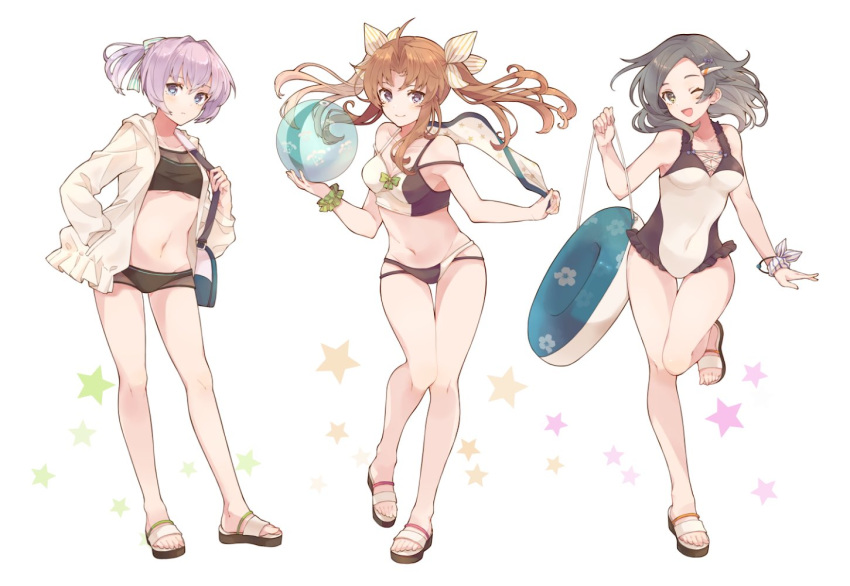 3girls bag ball bare_legs beachball bikini black_hair blue_eyes blush breasts brown_hair closed_mouth collarbone full_body green_scrunchie groin hair_between_eyes hair_ornament hair_ribbon holding holding_ball holding_beachball innertube jacket kagerou_(kantai_collection) kantai_collection kuroshio_(kantai_collection) long_hair long_sleeves multicolored multicolored_bikini multicolored_clothes multiple_girls navel one-piece_swimsuit one_eye_closed open_clothes open_jacket open_mouth pink_hair ponytail remodel_(kantai_collection) ribbon sandals scrunchie shakemi_(sake_mgmgmg) shiranui_(kantai_collection) short_hair shoulder_bag simple_background small_breasts smile star_(symbol) swimsuit toes twintails violet_eyes white_background white_jacket white_ribbon wrist_scrunchie yellow_eyes