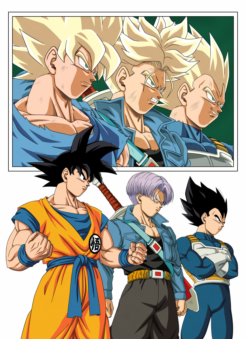 3boys absurdres armor belt black_eyes black_hair black_shirt blonde_hair blue_eyes bruise_on_face clenched_hands clenched_teeth closed_mouth crossed_arms dbkenkyuusei dragon_ball dragon_ball_z father_and_son gloves green_eyes grin highres huge_filesize jacket male_focus manly multiple_boys multiple_views muscle purple_hair serious shirt smile son_gokuu spiky_hair standing super_saiyan super_saiyan_1 sword sword_behind_back teeth torn_clothes trunks_(future)_(dragon_ball) vegeta weapon white_background white_gloves