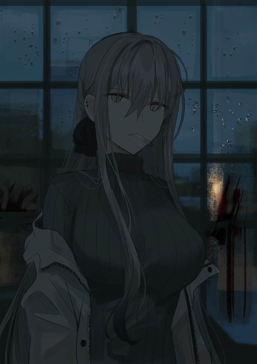 1girl bangs black_bow black_hair black_sweater blood bow breasts chihuri cigarette droplets ear_piercing eyebrows_visible_through_hair gradient_hair grey_eyes grey_hair hair_between_eyes hair_bow highres jacket long_hair looking_at_viewer medium_breasts mouth_hold multicolored_hair night off_shoulder open_clothes open_jacket original parted_lips piercing rain ribbed_sweater sidelocks slit_pupils solo sweater turtleneck turtleneck_sweater upper_body very_long_hair water_drop white_jacket window zoya_petrovna_vecheslova