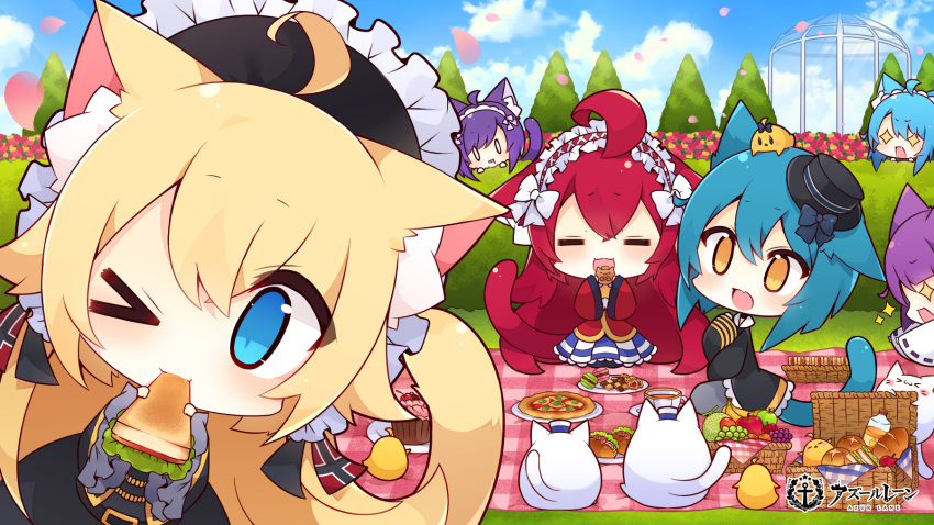 >_o +_+ 6+girls animal_ear_fluff animal_ears antenna_(azur_lane) aqua_hair aqua_tail azur_lane bishamaru_(azur_lane) black_dress black_headwear black_jacket blonde_hair blue_eyes blue_hair cat_ears chibi cookie dress food frilled_hairband frills fruit hair_between_eyes hair_ornament hairband hedge_(plant) highres jacket justice_(azur_lane) long_hair macaron manjuu_(azur_lane) meowfficer_(azur_lane) multiple_girls muuran official_art one_eye_closed open_mouth oscar_(azur_lane) picnic picnic_basket pizza purple_hair red_tail redhead sandwich steel_(azur_lane) tail takemaru_(azur_lane) very_long_hair violet_eyes wide_sleeves yellow_tail
