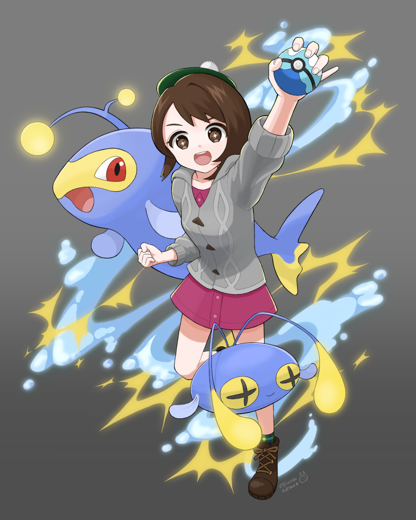+_+ 1girl absurdres arm_up artist_name bangs boots brown_eyes brown_footwear brown_hair buttons cardigan chinchou clenched_hand collared_dress commentary_request dive_ball dress ebiura_akane electricity gen_2_pokemon gloria_(pokemon) green_headwear green_legwear grey_cardigan hat highres holding holding_poke_ball hooded_cardigan lanturn open_mouth pink_dress plaid plaid_legwear poke_ball pokemon pokemon_(creature) pokemon_(game) pokemon_swsh short_hair socks swept_bangs tam_o'_shanter teeth tongue water watermark