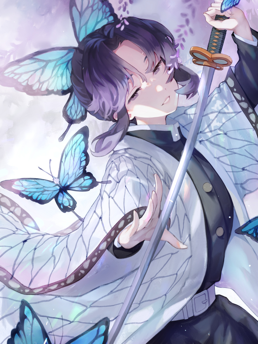 1girl absurdres animal_print belt belt_buckle black_hair black_jacket blue_butterfly buckle bug butterfly butterfly_hair_ornament butterfly_print eyelashes flower gradient_hair hair_intakes hair_ornament half-closed_eyes haori highres holding holding_sword holding_weapon insect jacket japanese_clothes jitome kimetsu_no_yaiba kochou_shinobu long_sleeves multicolored_hair nalan1192 smile solo sword violet_eyes weapon white_background white_belt wisteria
