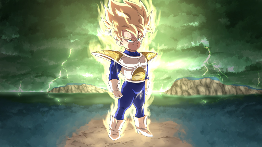 1boy absurdres aura blonde_hair blood blood_on_face bruise_on_face closed_mouth clouds cloudy_sky dragon_ball dragon_ball_z english_commentary full_body gloves green_eyes green_sky highres lightning looking_at_viewer male_focus namek saiyan_armor serious sky solo son_gohan spiky_hair srojam standing super_saiyan super_saiyan_1 what_if white_footwear white_gloves