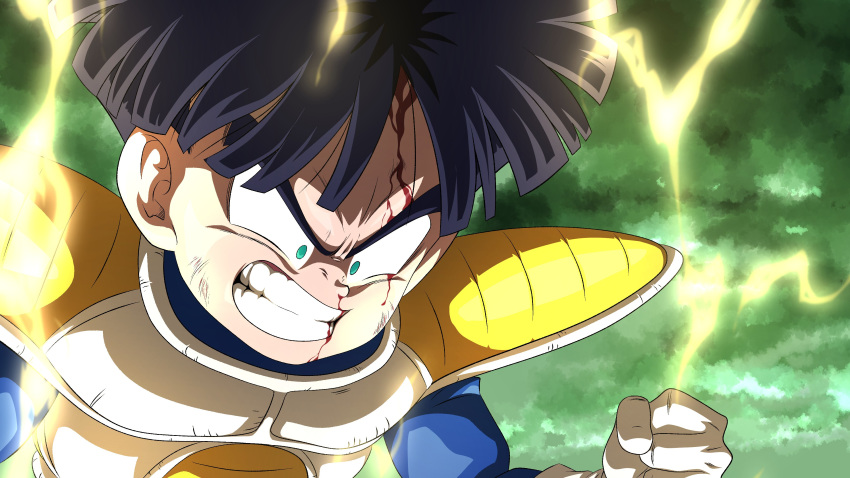 1boy absurdres angry black_hair blood blood_on_face bruise_on_face clenched_hand clenched_teeth clouds cloudy_sky dragon_ball dragon_ball_z electricity english_commentary green_eyes green_sky highres male_focus saiyan_armor sky solo son_gohan srojam super_saiyan teeth what_if