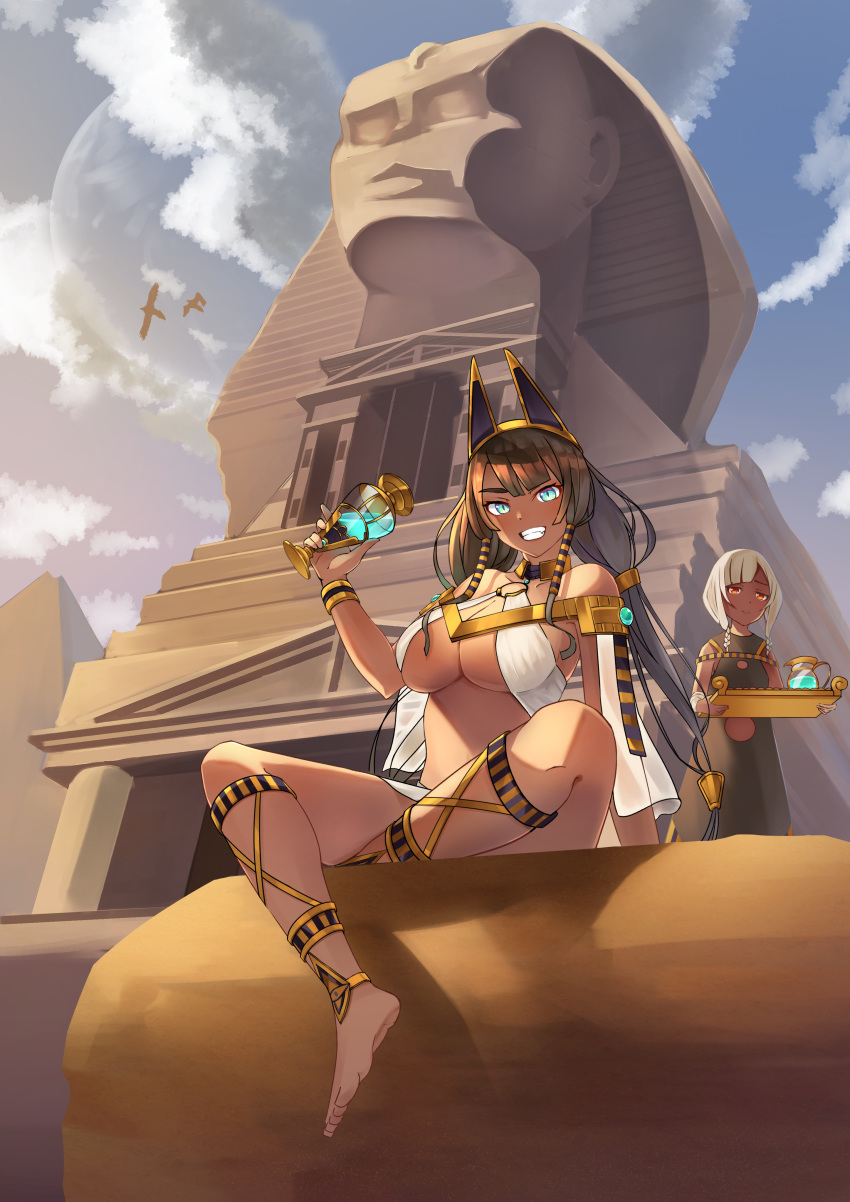 2girls absurdres animal_ears aqua_eyes bare_shoulders barefoot bracelet breasts brown_hair choker commentary_request cup dark_skin drinking_glass egyptian fake_animal_ears fantasy grin hair_tubes highres jewelry large_breasts litimo long_hair looking_at_viewer multiple_girls original pitcher pyramid red_eyes revealing_clothes servant sitting smile sphinx temple tray white_hair