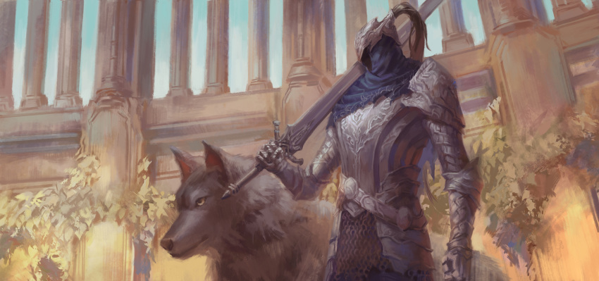 1boy animal arm_at_side armor artorias_the_abysswalker blue_capelet breastplate capelet closed_mouth commentary dark_souls day earrame faceless faceless_male faulds gauntlets great_grey_wolf_sif greatsword helmet highres holding holding_sword holding_weapon hood knight looking_away over_shoulder pillar plume single_pauldron souls_(from_software) standing sword upper_body weapon wolf yellow_eyes