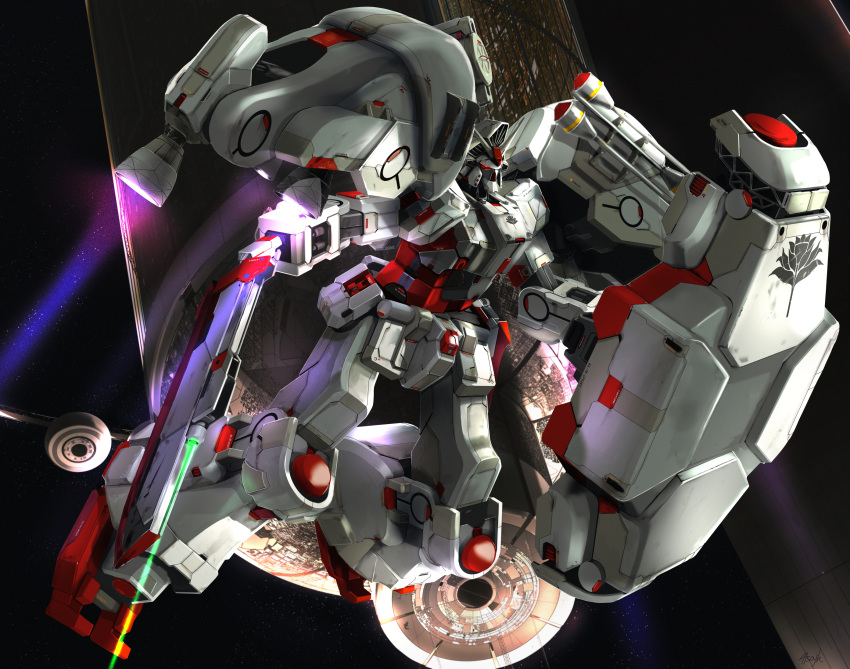 alternate_color atsajh commission flying gun gundam gundam_0083 gundam_gp-02_physalis highres holding holding_gun holding_shield holding_weapon mecha no_humans shield solo space space_colony thrusters v-fin weapon