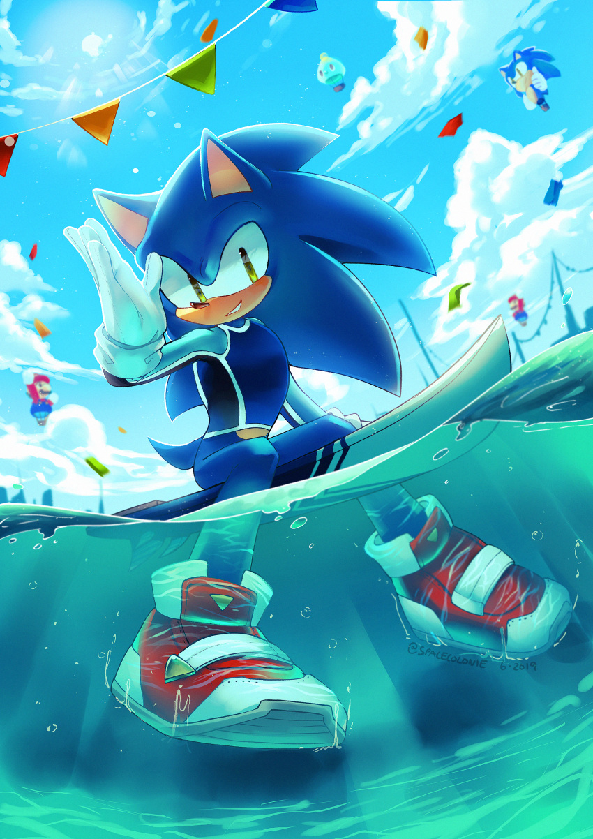 1boy absurdres aircraft animal_ears artist_name blue_hair blue_shirt blue_sky bottomless chao_(sonic) clouds commentary confetti dated day full_body furry gloves green_eyes grin hand_up happy highres hot_air_balloon light_rays long_hair long_sleeves looking_at_viewer male_focus mario mario_&_sonic_at_the_tokyo_2020_olympic_games mario_(series) outdoors partially_submerged partially_underwater_shot red_footwear shirt shoes sideways_mouth signature sitting skin_tight sky smile solo sonic sonic_the_hedgehog spacecolonie string_of_flags sun sunlight surfboard tail teeth twitter_username white_gloves