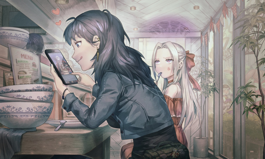 2girls ahoge alternate_costume anger_vein bag bare_shoulders black_eyes black_hair black_shirt blue_jacket blue_nails bowl byleth_(fire_emblem) byleth_(fire_emblem)_(female) cellphone closed_mouth commentary_request contemporary denim denim_jacket dress ear_piercing eating edelgard_von_hresvelg fire_emblem fire_emblem:_three_houses fire_emblem_heroes forehead fork frilled_dress frills from_side hair_ribbon half-closed_eyes heart highres holding holding_phone indoors jacket korokoro_daigorou long_hair long_sleeves looking_at_phone menu_board multiple_girls nail_polish open_clothes open_jacket phone piercing plate playing_games profile red_dress red_ribbon restaurant ribbon shirt silver_hair sitting smartphone smile staring unbuttoned violet_eyes wristband yuri