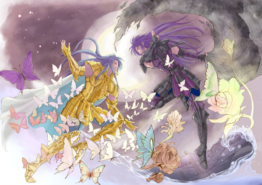 2boys armor blue_(saga_frontier) blue_hair brothers bug butterfly closed_mouth fingerless_gloves gemini_kanon gemini_saga gloves gold_armor gold_saint insect long_hair male_focus multiple_boys parody purple_hair rouge_(saga_frontier) saga saga_frontier saint_seiya siblings twins