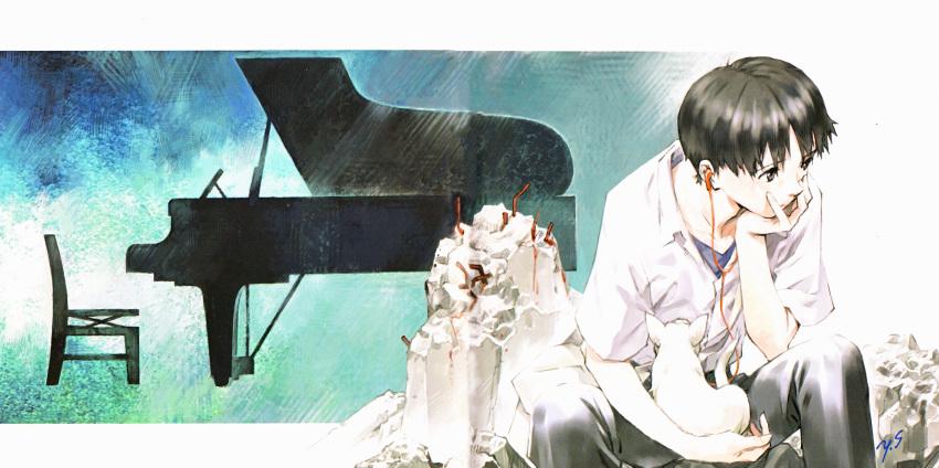 1boy absurdres cat gainax headphones highres ikari_shinji instrument neon_genesis_evangelion official_art piano ruins sadamoto_yoshiyuki scan shirt sitting solo white_shirt