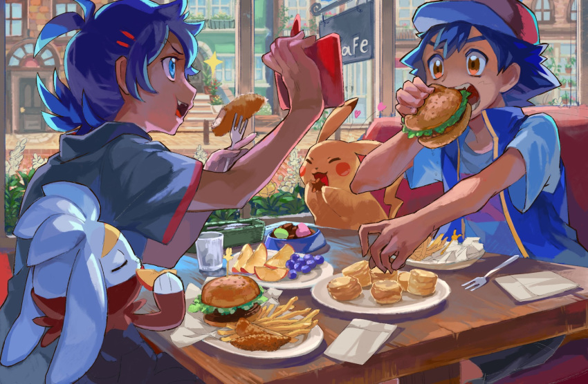 2boys antenna_hair ash_ketchum blue_hair chair chips commentary_request day door eating food fork fruit gen_1_pokemon gen_4_pokemon gen_8_pokemon glass goh_(pokemon) hair_ornament hairclip hamburger highres holding holding_food indoors jacket lettuce multiple_boys napkin nmgorila open_mouth pikachu pokemon pokemon_(anime) pokemon_(creature) pokemon_swsh_(anime) raboot rotom rotom_phone short_sleeves sitting table teeth tongue window