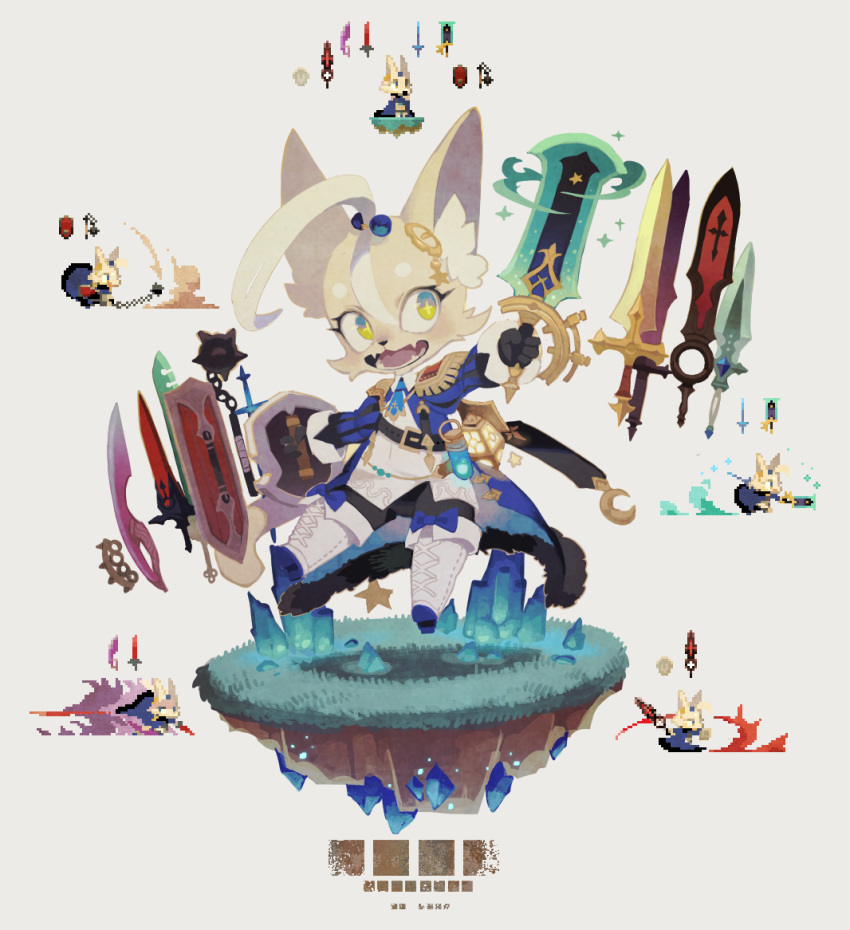 1boy ahoge armor attack blonde_hair bow crystal fangs fur furry grass ground hair_ornament multiple_views multiple_weapons necktie open_mouth original pixel_art rikose shield simple_background star-shaped_pupils star_(symbol) sword symbol-shaped_pupils teeth weapon