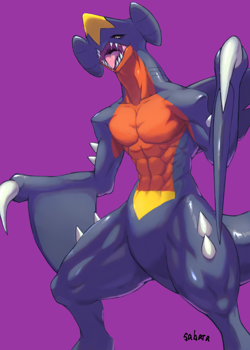 abs absurdres artist_name black_sclera claws commentary_request dragon garchomp gen_4_pokemon highres no_humans open_mouth pokemon pokemon_(creature) purple_background sabata_(user_nkxd4384) saliva sharp_teeth signature simple_background spikes teeth tongue yellow_eyes