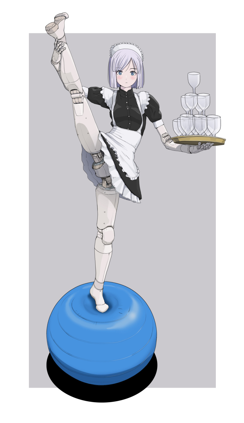 1girl absurdres android apron balancing balancing_ball bangs colorized cup drinking_glass expressionless flat_chest flexible greyscale highres joints maid maid_apron maid_headdress mechanical_parts monochrome no_panties no_pussy original robot_joints science_fiction short_hair solo split standing standing_on_one_leg standing_split sukabu swept_bangs tray upskirt wine_glass