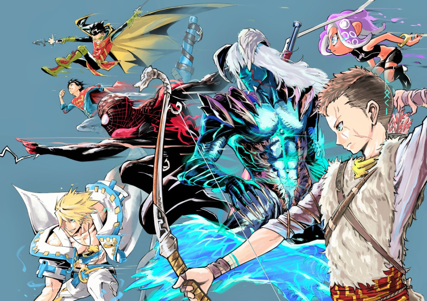 alternate_form atreus batman_(series) blonde_hair bodysuit brown_hair cape crossover damian_wayne dc_comics demon_boy devil_may_cry devil_may_cry_5 domino_mask eyepatch god_of_war grappling_hook guilty_gear guilty_gear_xrd hair_over_eyes jonathan_kent long_hair marvel mask multiple_crossover nanbaba nero_(devil_may_cry) octoling robin_(dc) runes scar silver_hair sin_kiske speed_lines spider-man_(miles_morales) spider-man_(series) splatoon_(series) splatoon_2 splatoon_2:_octo_expansion superboy superhero superman_(series) tentacle_hair trait_connection