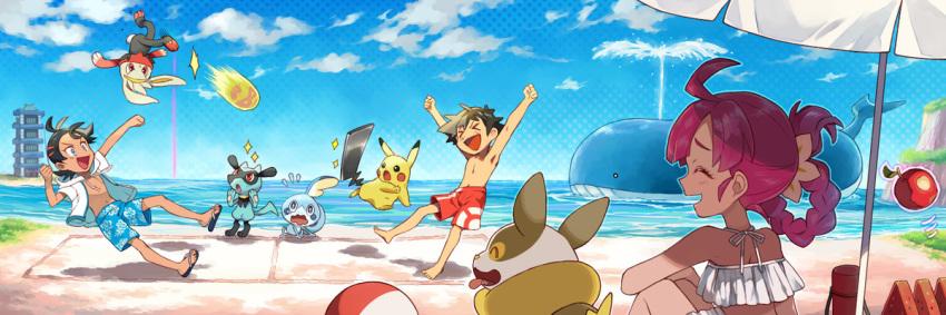 >_< 1girl 2boys antenna_hair apple ash_ketchum ball barefoot beachball black_hair blue_eyes chloe_(pokemon) closed_eyes clouds commentary_request day eyelashes flask food fruit gen_1_pokemon gen_3_pokemon gen_4_pokemon gen_8_pokemon goh_(pokemon) iron_tail_(pokemon) male_swimwear motion_lines multiple_boys open_mouth outdoors pikachu pokemon pokemon_(anime) pokemon_swsh_(anime) purple_hair raboot riolu sandals sasairebun shirtless short_sleeves sky sparkle swim_trunks swimsuit swimwear toes tongue tower umbrella wailord wavy_mouth white_swimsuit yamper