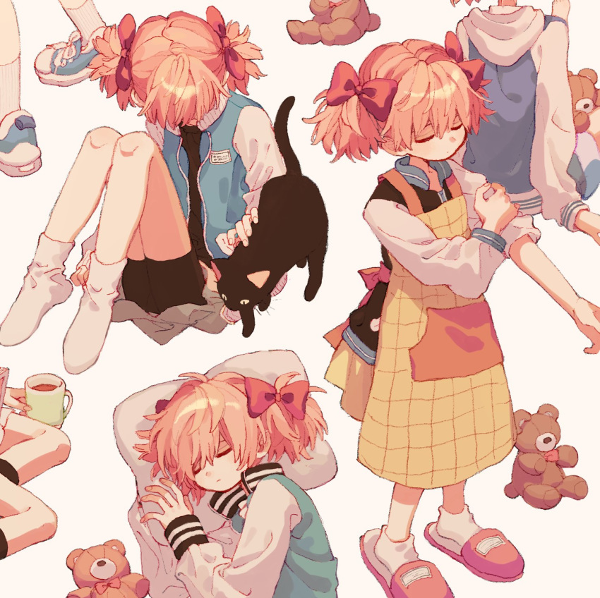 1girl animal apron barefoot beige_background bike_shorts black_cat blue_footwear bow cat closed_eyes closed_mouth cup drink from_side hair_bow hair_ornament highres hood hood_down hooded_jacket jacket ka_(marukogedago) long_sleeves lying mug multiple_views muted_color no_shoes on_side open_clothes open_jacket original pillow shoelaces shoes short_hair short_twintails simple_background sitting sleeping sleeves_rolled_up slippers sneakers socks standing stuffed_animal stuffed_toy teddy_bear twintails yokozuwari