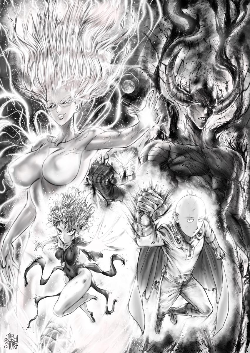 2boys 2girls absurdres aura bald belt blood blood_on_face bodysuit boots breasts bruise cape clenched_hand closed_mouth commentary covered_navel covered_nipples debris demon dress english_commentary floating_hair flying garou_(one-punch_man) glasses gloves glowing greyscale grin high_heels highres horns injury jitome large_breasts long_hair looking_at_viewer medium_breasts monochrome multiple_boys multiple_girls navel one-punch_man pants pelvic_curtain psychos reaching_out saitama_(one-punch_man) sanpaku shoes short_hair signature single_shoe smile sparks superhero tatsumaki the_golden_smurf torn_clothes
