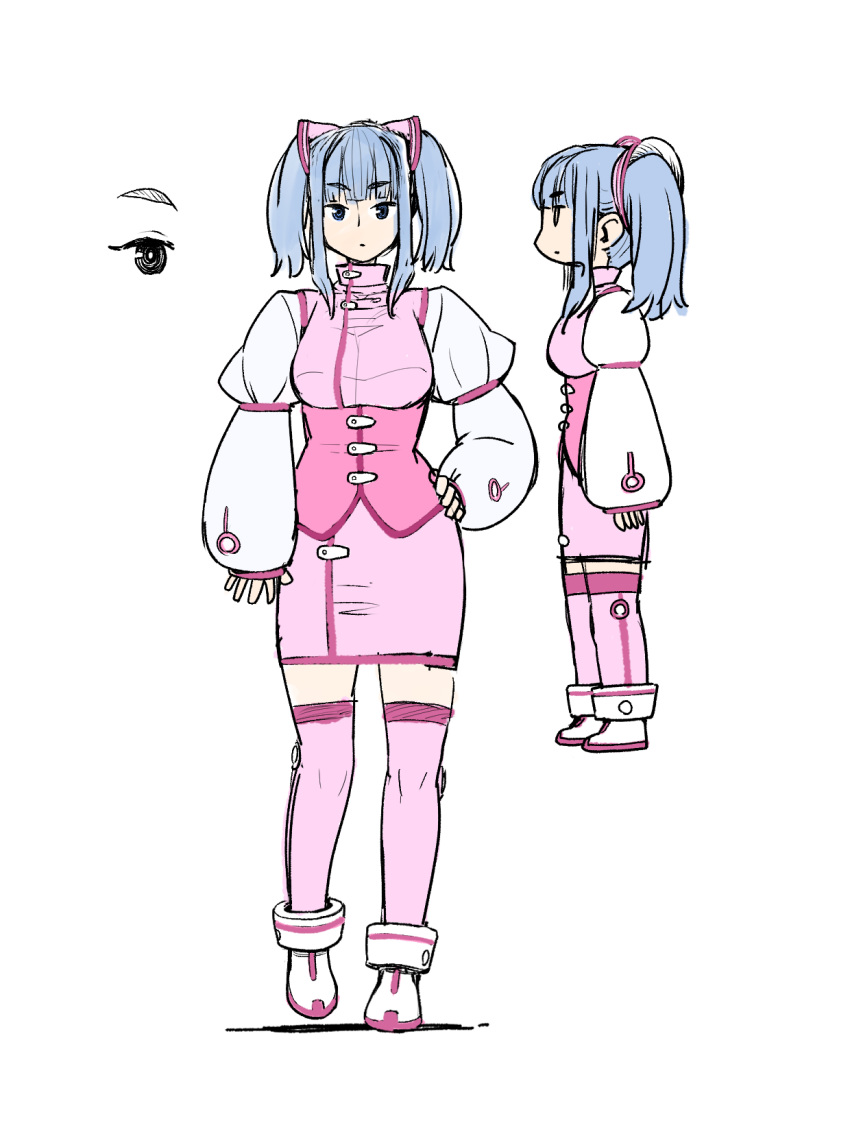 1girl ankle_boots blue_eyes blue_hair boots closed_mouth copyright_request eyebrows_visible_through_hair hair_ornament hand_on_hip highres juliet_sleeves kneehighs long_sleeves looking_at_viewer medium_hair multiple_views pencil_skirt pink_legwear pink_skirt poronegi puffy_sleeves simple_background skirt twintails underbust white_background white_footwear