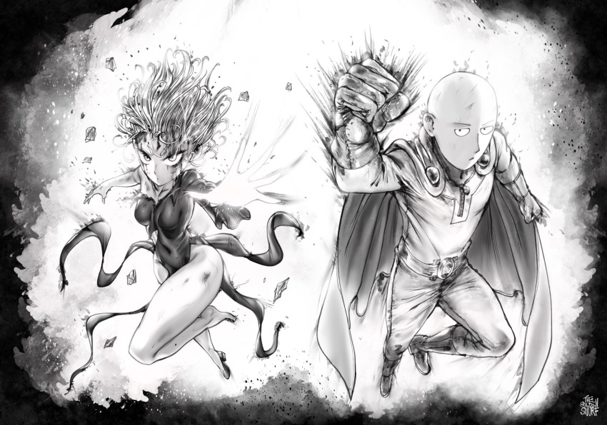 bald belt blood blood_on_face bodysuit boots breasts bruise cape clenched_hand closed_mouth commentary covered_navel debris dress english_commentary floating_hair flying gloves glowing greyscale high_heels highres injury jitome looking_at_viewer medium_breasts monochrome navel one-punch_man pants pelvic_curtain reaching_out saitama_(one-punch_man) sanpaku shoes short_hair signature single_shoe solo superhero tatsumaki the_golden_smurf torn_clothes