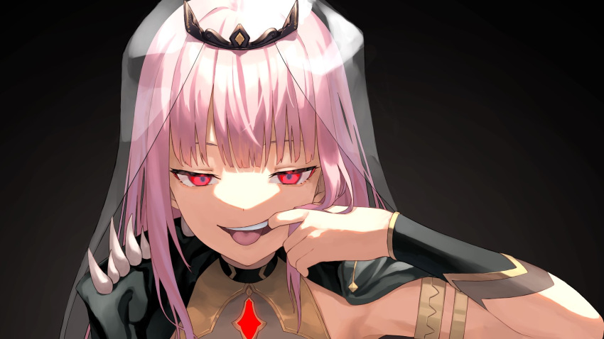 1girl black_background black_cape cape crown ears eyebrows_visible_through_hair highres hololive hololive_english long_hair looking_at_viewer mori_calliope mouth_pull nem_rui pink_hair red_eyes shoulder_spikes solo spikes teeth tongue tongue_out upper_body veil