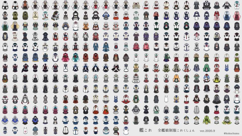 abukuma_(kantai_collection) agano_(kantai_collection) ainu_clothes akagi_(kantai_collection) akashi_(kantai_collection) akatsuki_(kantai_collection) akebono_(kantai_collection) akigumo_(kantai_collection) akishimo_(kantai_collection) akitsu_maru_(kantai_collection) akitsushima_(kantai_collection) akizuki_(kantai_collection) amagi_(kantai_collection) amagiri_(kantai_collection) amatsukaze_(kantai_collection) aoba_(kantai_collection) apron aqua_neckwear aquila_(kantai_collection) arare_(kantai_collection) arashi_(kantai_collection) arashio_(kantai_collection) ariake_(kantai_collection) ark_royal_(kantai_collection) asagumo_(kantai_collection) asakaze_(kantai_collection) asashimo_(kantai_collection) asashio_(kantai_collection) ashigara_(kantai_collection) atago_(kantai_collection) atlanta_(kantai_collection) ayanami_(kantai_collection) bell belt bike_shorts binoculars bismarck_(kantai_collection) black_belt black_neckwear black_skirt blazer blouse blue_neckwear blue_sailor_collar blue_skirt bomber_jacket bow bowtie breast_pocket brown_background brown_skirt cape capelet celtic_knot character_name checkered checkered_neckwear chikuma_(kantai_collection) chitose_(kantai_collection) chiyoda_(kantai_collection) choukai_(kantai_collection) colorado_(kantai_collection) commandant_teste_(kantai_collection) commentary_request daitou_(kantai_collection) dated de_ruyter_(kantai_collection) detached_sleeves double-breasted dress etorofu_(kantai_collection) fletcher_(kantai_collection) flight_deck frilled_skirt frills fubuki_(kantai_collection) fujinami_(kantai_collection) fukae_(kantai_collection) fumizuki_(kantai_collection) furutaka_(kantai_collection) fusou_(kantai_collection) gambier_bay_(kantai_collection) gangut_(kantai_collection) giuseppe_garibaldi_(kantai_collection) gotland_(kantai_collection) graf_zeppelin_(kantai_collection) grecale_(kantai_collection) green_jacket green_neckwear green_sailor_collar grey_background grey_skirt hachijou_(kantai_collection) hadanugi_dous