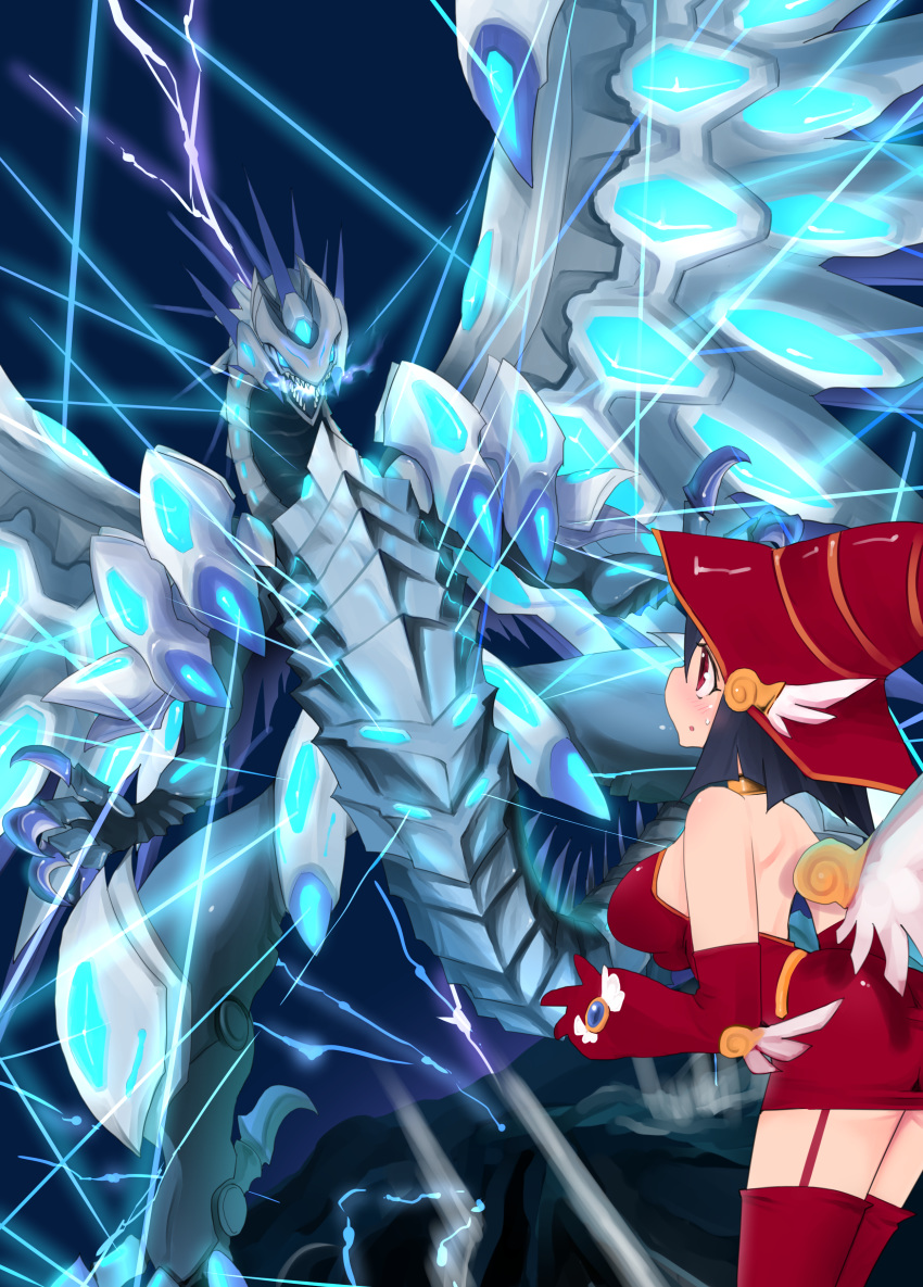 1girl absurdres apple_magician_girl bare_shoulders black_hair blue-eyes_chaos_max_dragon blue_eyes blush breasts claws dragon dress duel_monster elbow_gloves garter_straps gloves hat highres large_breasts monster open_mouth red_dress red_eyes red_gloves red_headwear red_legwear ryou_(cagw5223) sweatdrop tail teeth thigh-highs wings witch_hat yuu-gi-ou